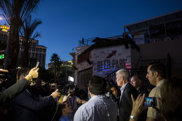 Rich Broome, executive vice president of Caesars Entertainment Corp., speaks during a news conference outside of Paris Las Vegas on Thursday evening. (Elizabeth Brumley/Las Vegas Review-Journal Fo ...