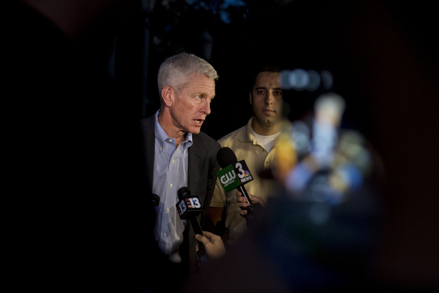 Rich Broome, executive VP of Caesars Entertainment Corp., speaks during a press conference outside of the Paris hotel-casino in Las Vegas, Thursday evening, Nov. 3, 2016.  (Elizabeth Brumley/Las V ...