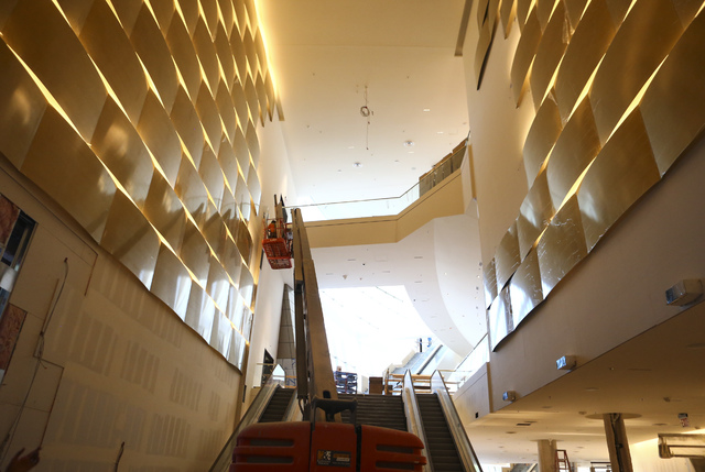 Construction goes on during a tour of the Park Theater, slated to open in December, at the Monte-Carlo hotel-casino in Las Vegas on Tuesday, Oct. 25, 2016. Chase Stevens/Las Vegas Review-Journal F ...