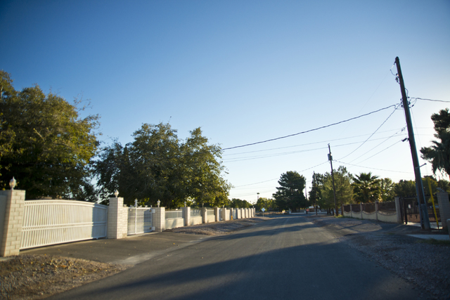 Smoke Tree Lane near Sunset Park in Las Vegas is seen at sunrise on Saturday, Nov. 5, 2016. Residents in the area say that peacocks routinely swarm the area causing a nuisance. (Daniel Clark/Las V ...