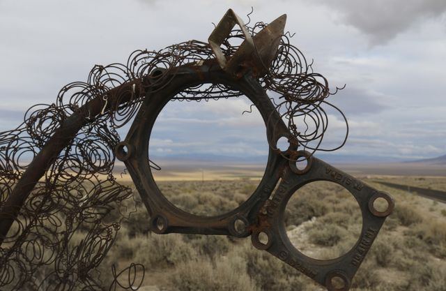 The head of Pegasus points toward state Route 488 near Great Basin National Park. State road workers removed the unauthorized roadside sculpture last week for safety reasons and are holding it unt ...