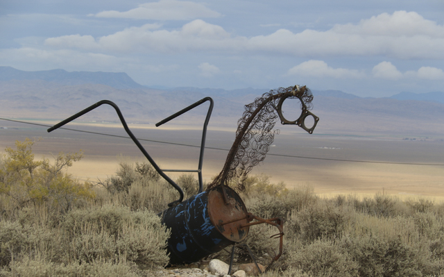 A sculpture of the constellation Pegasus greets motorists along the highway between Baker and Great Basin National Park. The piece was among several removed last week by state road workers citing  ...
