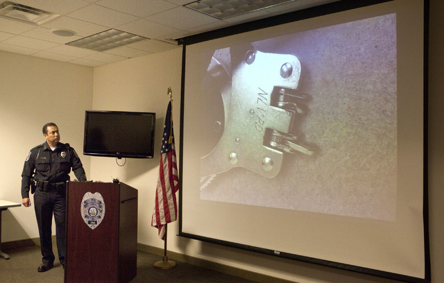 North Las Vegas Police Chief Alex Perez shows footage of homicide suspect Alonso Perez escaping police custody Friday at a press conference on Wednesday, Sept. 7, 2016. He was captured on Tuesday, ...