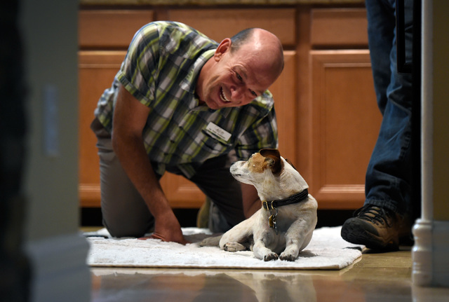Veterinarian Dr. Toby Goldberg tends to his patient, Sammie, a 13-year-old Jack Russel terrier during a house call at Larry Klecka and Cheryl Mitt's home, Thursday, Oct. 20, 2016, in Las Vegas. Th ...