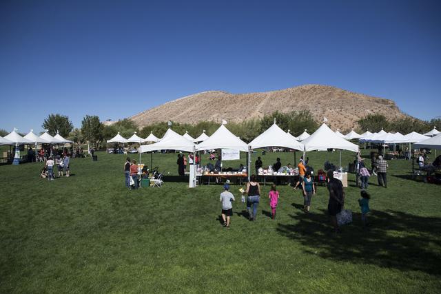 People attend the Family, Fur and Fun Festival at Exploration Park on Saturday, Oct. 15, 2016, in Las Vegas. (Erik Verduzco/Las Vegas Review-Journal Follow @Erik_Verduzco)