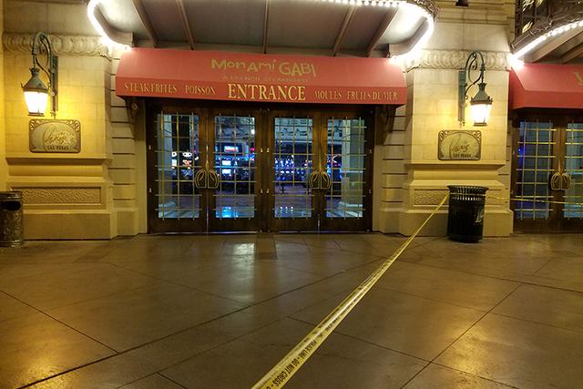 Tape blocks off the entrance of Paris Las Vegas early Friday morning. (Mike Shoro/Las Vegas Review-Journal)