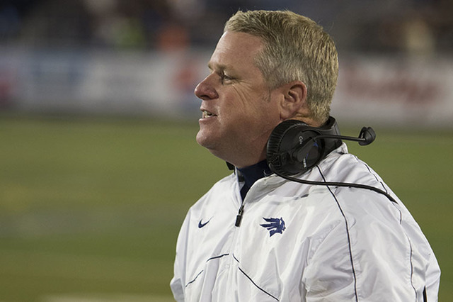 Nevada head coach Brian Polian on the sidelines during the San Diego State and Nevada NCAA college football game against Nevada on Saturday, Nov. 12, 2016 in Reno, Nev. (AP Photo/Tom R. Smedes)