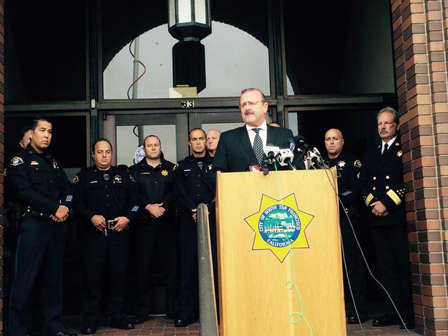 South San Francisco Mayor Mark Addiego addressed the press condemning the attack on a South San Francisco police officer, Friday, Nov. 25, 2016. (Sara Ravani/San Francisco Chronicle via AP)