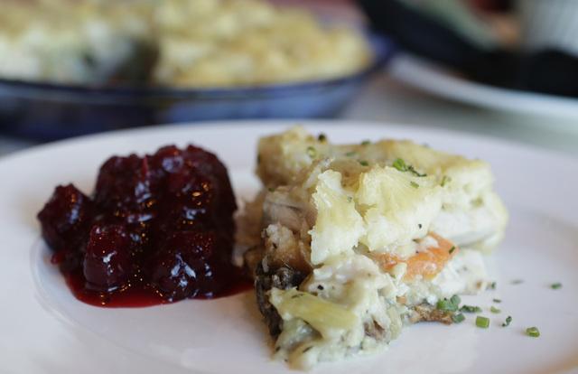 A slice of turkey shepherd's pie with cranberry sauce is seen at Table 34 restaurant Thursday, Nov. 17, 2016. Bizuayehu Tesfaye/Las Vegas Review-Journal Follow @bizutesfaye