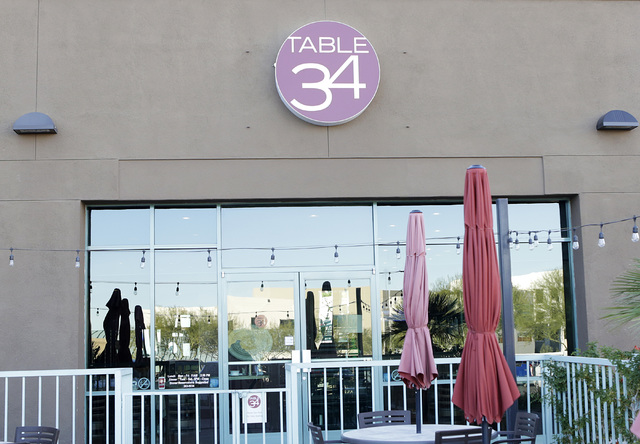 Table 34 restaurant at 600 E. Warm Springs Rd. is seen Thursday, Nov. 17, 2016, in Las Vegas. Bizuayehu Tesfaye/Las Vegas Review-Journal Follow @bizutesfaye