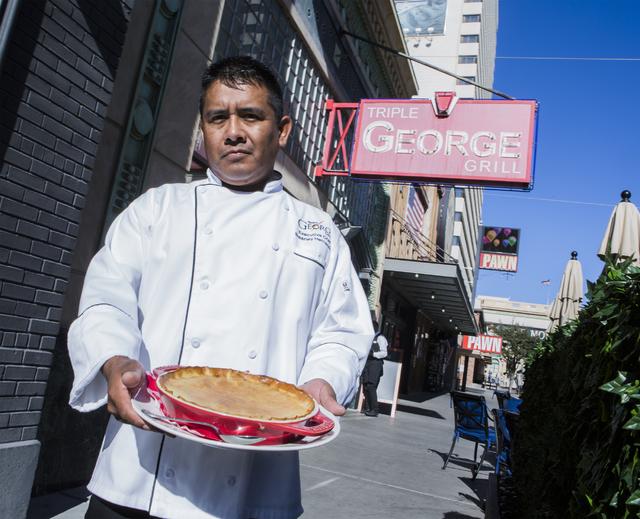 Triple George chef Brearley Hernandez holds a chicken pot pie on Friday, Nov. 18, 2016. Jeff Scheid/Las Vegas Review-Journal Follow @jeffscheid