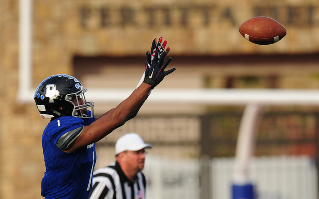 Desert Pines wide receiver Tony Fields catches a first down pass against Spring Creek in the second half of the NIAA Class 3A State championship game at Bishop Gorman High School in Las Vegas Satu ...