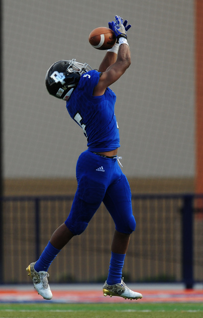 Desert Pines safety Eddie Heckard nearly intercepts a Spring Creek pass in the second half of the NIAA Class 3A State championship game at Bishop Gorman High School in Las Vegas Saturday, Nov. 19, ...