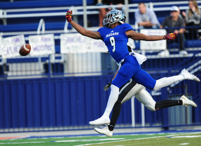Desert Pines wide receiver Randal Grimes is unable to catch a pass against Spring Creek in the second half of the NIAA Class 3A State championship game at Bishop Gorman High School in Las Vegas Sa ...