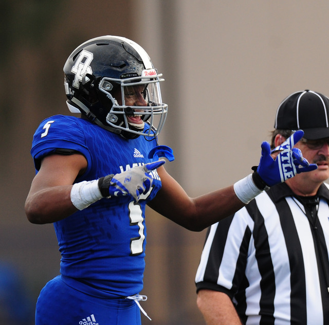 Desert Pines linebacker Eddie Heckard reacts after the Jaguars recovered a Spring Creek fumble in the second half of the NIAA Class 3A State championship game at Bishop Gorman High School in Las V ...