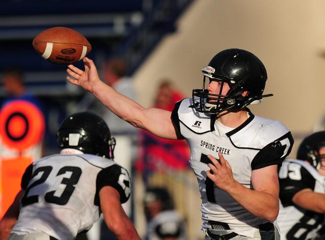 Spring Creek quarterback Jon Jund passes against Desert Pines in the second half of the NIAA Class 3A State championship game at Bishop Gorman High School in Las Vegas Saturday, Nov. 19, 2016. Des ...