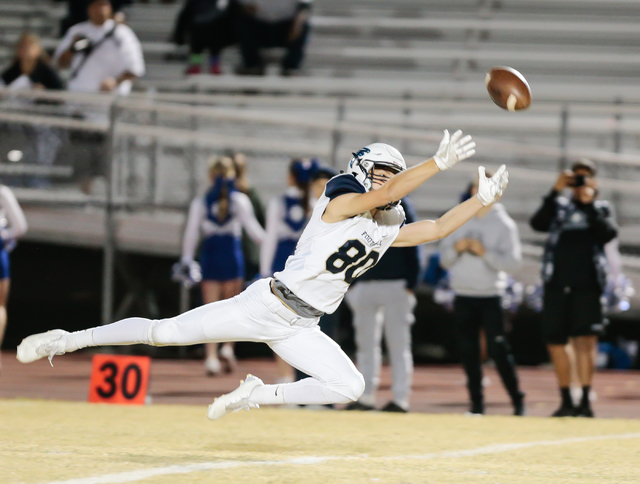 Foothill senior Joel Heintz (80) reaches out in an attempt to catch an overthrown pass during a matchup against Basic High School at he Sunrise Region semifinal football game held at Basic High Sc ...