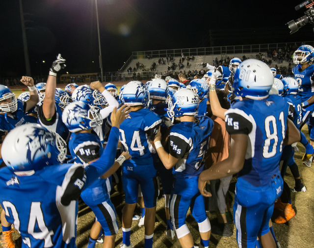 Basic High School football players celebrate after a win against Foothill High School at the Sunrise Region semifinal football game held at Basic High School in Henderson, Thursday, Nov. 10, 2016. ...