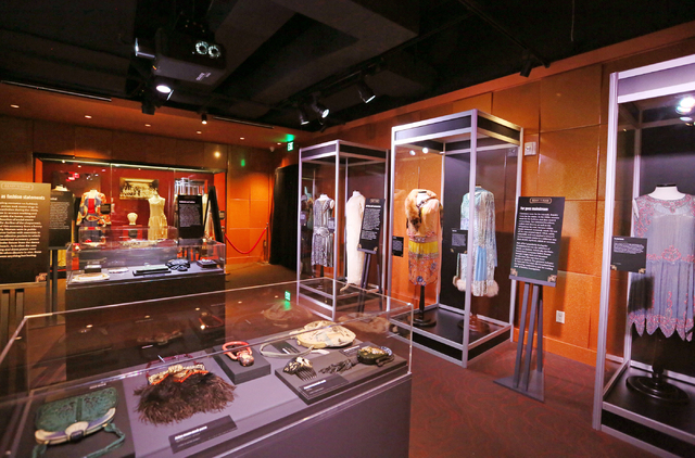 """Ready to Roar: evening fashions of the prohibition women"" is shown at The Mob Museum Thursday, Nov. 3, 2016, in Las Vegas. The exhibit, which opens Friday, is slated to run thro ..."