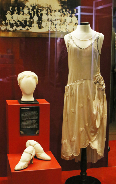"A wedding ensemble is displayed in ""Ready to Roar: evening fashions of the prohibition women"" at The Mob Museum Thursday, Nov. 3, 2016, in Las Vegas. Ronda Churchill/Las Vegas Re ..."