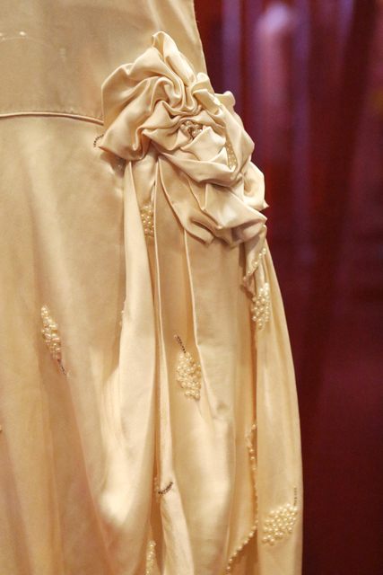 "A detail is shown on a wedding dress displayed in ""Ready to Roar: evening fashions of the prohibition women"" at The Mob Museum Thursday, Nov. 3, 2016, in Las Vegas. Ronda Churchi ..."
