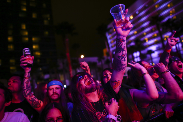 Attendees react as The Shrine perform during the Psycho Las Vegas music festival at the Hard Rock hotel-casino in Las Vegas on Friday, Aug. 26, 2016. Chase Stevens/Las Vegas Review-Journal Follow  ...