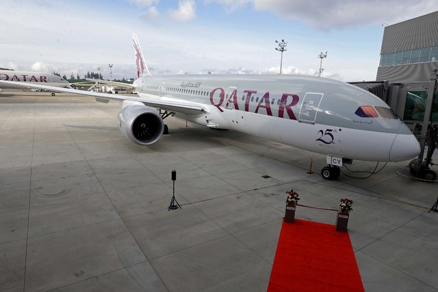 A Boeing 787 airplane purchased by Qatar Airways is shown during a delivery ceremony in Everett, Wash., Nov. 4, 2015. (Ted S. Warren/AP)