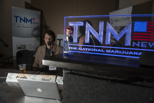 Joe Brezny, spokesperson for the Coalition to Regulate Marijuana like Alcohol, gives an interview with The National Marijuana News during the Las Vegas Weekly's Question 2 watch party inside the S ...
