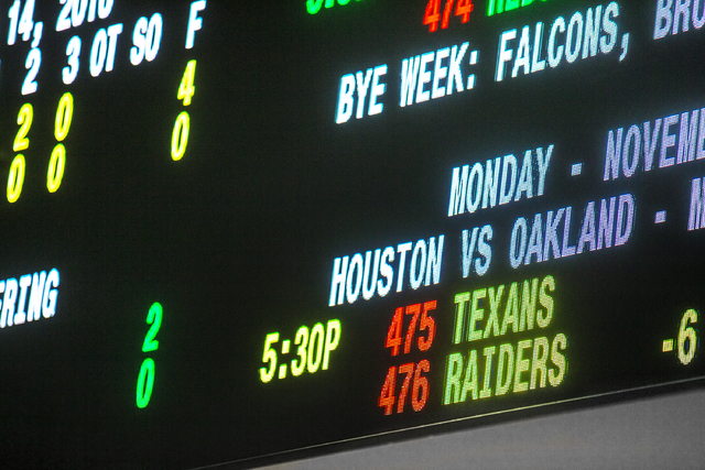 Odds are posted for the Nov. 21 matchup between the  Oakland Raiders and Houston Texans at The Race & Sports Book at Green Valley Ranch on Monday, Nov. 14, 2016, in Henderson. (Benjamin Hager/ ...
