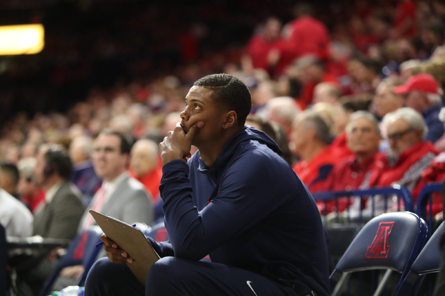 Arizona Wildcats forward Ray Smith on the bench during a game against Sacred Heart on Nov. 18, 2016. (University of Arizona)