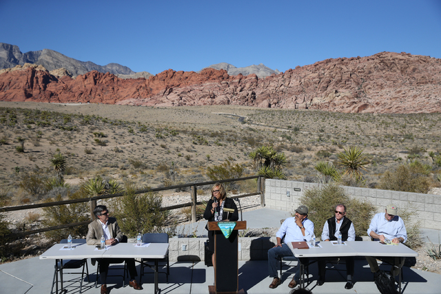 Catrina Williams, field manager with the Bureau of Land Management, speaks during an event to honor the Nature Conservancy, Bureau of Land Management and Summerlin developers at Red Rock Canyon Na ...