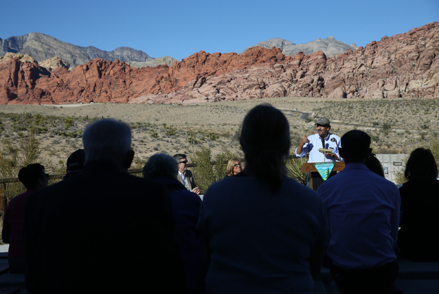 Juan Palma, Nature Conservancy director for Nevada, speaks during an event to honor the Nature Conservancy, Bureau of Land Management and Summerlin developers at Red Rock Canyon National Conservat ...
