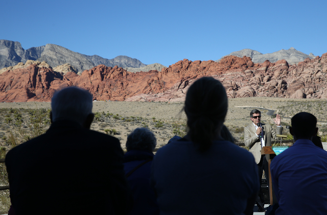Tom Warden, senior vice president of Summerlin Community & Government Relations with Howard Hughes Corp., speaks during an event to honor the Nature Conservancy, Bureau of Land Management and  ...
