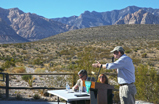 Dave Livermore, Nature Conservancy director for Utah, speaks during an event to honor the Nature Conservancy, Bureau of Land Management and Summerlin developers at Red Rock Canyon National Conserv ...