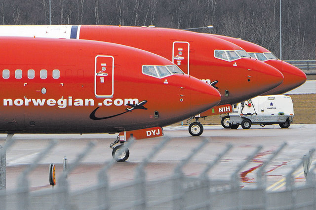 Parked Boeing 737-800 aircrafts belonging to budget carrier Norwegian Air are pictured at Stockholm Arlanda Airport on March 6, 2015. (Johan Nilsson/Reuters)