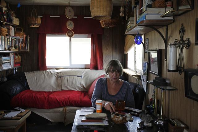 Kristin Hougard drinks grape juice at her home on Monday, Oct. 3, 2016, in Tonopah, Nev. Rachel Aston/Las Vegas Review-Journal Follow @rookie__rae