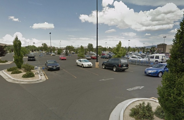 The parking lot of the Wal-Mart in Reno where a man was shot on Thanksgiving. (Google Street View)
