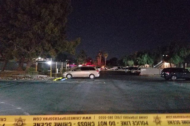 Early Tuesday, police were investigating a stabbing at the Corona Del Sol Apartments near East Charleston Boulevard and Marion Drive. (Mike Shoro/Las Vegas Review-Journal)