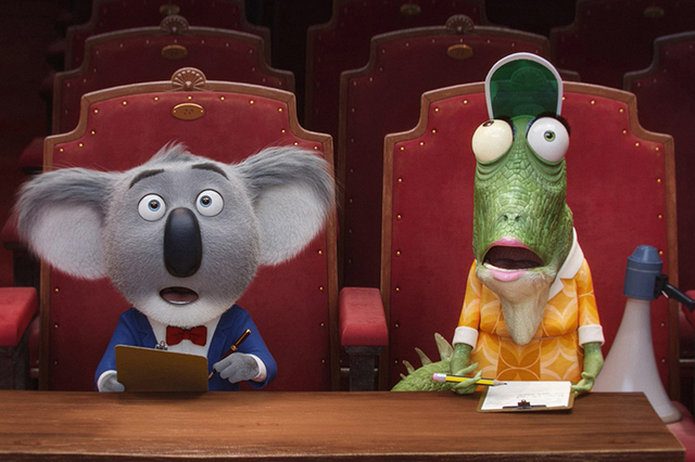 """MAtthew McConaughey stars as koala Buster Moon and writer/director Garth Jennings voices elderly lizard Miss Crawly in """"Sing."""" (Courtesy Illumination Entertainment and Universal Pictures)"""