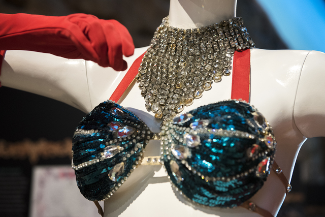 """A stage costume from """"Folies Bergere"""" is shown at Nevada State Museum on Saturday, Aug. 27, 2016, in Las Vegas. (Martin S. Fuentes/Las Vegas Review-Journal)"""