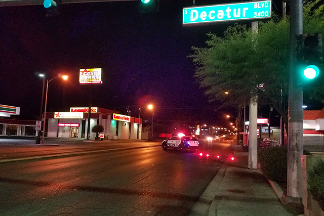 A part of the intersection at Decatur and Spring Mountain was blocked following a one-vehicle accident early Wednesday morning. (Mike Shoro/Las Vegas Review-Journal)