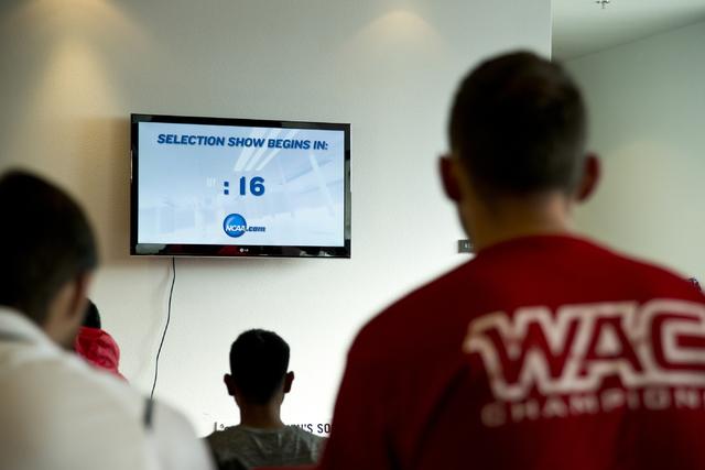 The UNLV men's soccer team waits for the NCAA men's soccer tournament selection show to begin inside the Mendenhall Center on the UNLV campus in Las Vegas on Monday, Nov. 14, 2016. (Daniel Clark/L ...