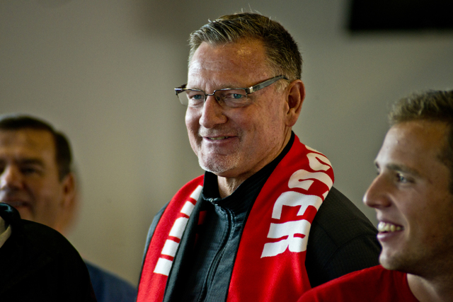 UNLV men's soccer head coach Rich Ryerson watches the NCAA men's soccer tournament selection show on television inside the Mendenhall Center on the UNLV campus in Las Vegas on Monday, Nov. 14, 201 ...