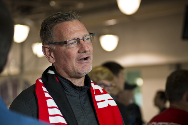 UNLV men's soccer head coach Rich Ryerson after watching the NCAA men's soccer tournament selection show on television inside the Mendenhall Center on the UNLV campus in Las Vegas on Monday, Nov.  ...