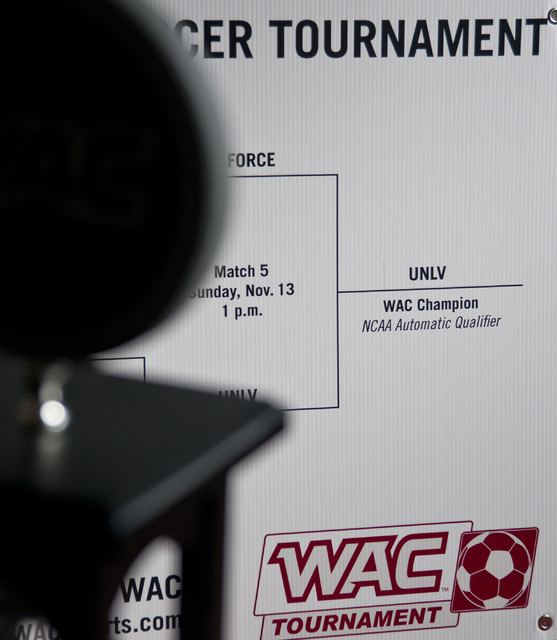 The bracket that led to the UNLV men's soccer team making the NCAA tournament is seen during a party to watch the tournament selection show on television inside the Mendenhall Center on the UNLV c ...