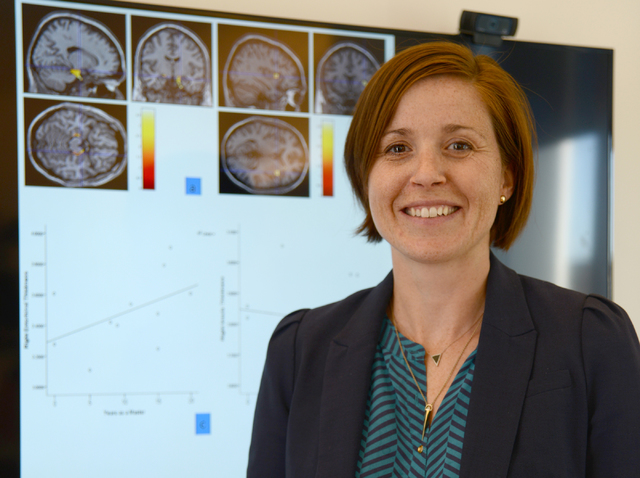 Sarah J. Banks poses for a photograph inside her office at the Cleveland Clinic Lou Ruvo Center for Brain Health in downtown Las Vegas on Wednesday, Oct. 5, 2016. (Daniel Clark/Las Vegas Review-Jo ...