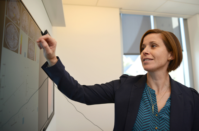 Sarah J. Banks explains her research inside her office at the Cleveland Clinic Lou Ruvo Center for Brain Health in downtown Las Vegas on Wednesday, Oct. 5, 2016. (Daniel Clark/Las Vegas Review-Jou ...