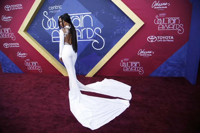 Actress Elise Neal walks the red carpet at the Soul Train Music Awards on Sunday, Nov. 6, 2016, at the New Orleans Arena in Las Vegas. (Rachel Aston/Las Vegas Review-Journal Follow @rookie__rae)