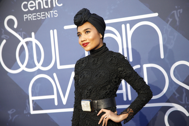 Yuna walks the red carpet at the Soul Train Music Awards on Sunday, Nov. 6, 2016, at the New Orleans Arena in Las Vegas. (Rachel Aston/Las Vegas Review-Journal Follow @rookie__rae)