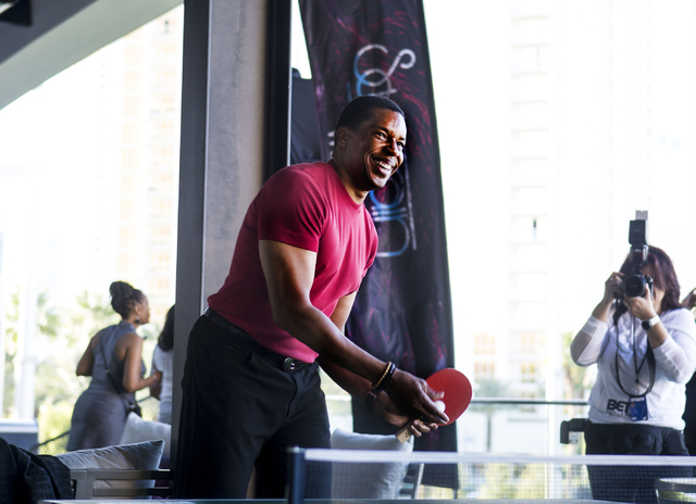 """Soul Train Producer Tony Cornelius plays a game of pingpong at Topgolf Las Vegas for the """"Soul Lunch & Greens,"""" a benefit for the Don Cornelius Foundation Friday, Nov. 4, 2016. Elizabeth Page  ..."""